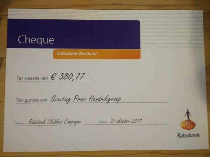Cheque Rabobank Clubkas Campagne 2017